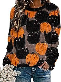 Halloween Pumpkin Sweatshirt Crewneck Pullover - Animal Cat Bat Print Casual Loose Long Sleeve Tops Shirts