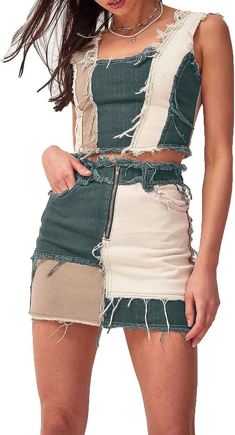 PAODIKUAI Women's Patch Color Block Bodycon Denim Mini Skirt Raw Hem Jean Short Skirt