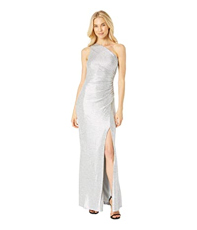 Adrianna Papell One Shoulder Long Dress (Silver) Women