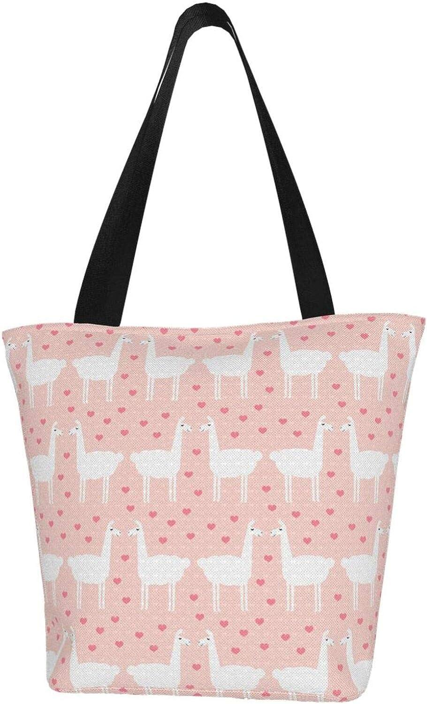 Little Pink Love Kiss Llama Themed Printed Women Canvas Handbag Zipper Shoulder Bag Work Booksbag Tote Purse Leisure Hobo Bag For Shopping