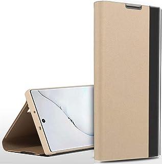 حافظة حماية لهاتف سامسونج جالكسي نوت 20 الترا مع نافذة عرض ذكية وغطاء قلاب قابل للطي ويمكن استخدامه كمسند (لون ذهبي)