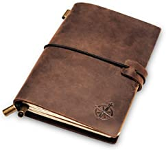 Leather Pocket Notebook | Small, Refillable Travel Journal | Passport Size, Perfect for Writing, Gifts, Travelers, Professionals, as a Diary or Organizer. Small Size | 5.1 x 4 inches