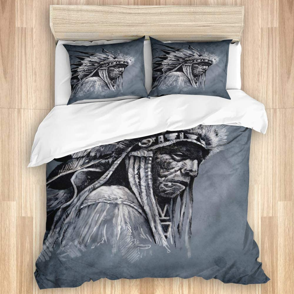 LONSANT Washed Cotton Manufacturer direct delivery Duvet Seattle Mall Cover Set Artwork Piec 3 Chief Tribe