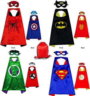 Yalla Baby Superhero Costume Capes and Masks for Kids Boys Girls 3-12 Years - Kids Costumes Double Side Capes Best Superhe...