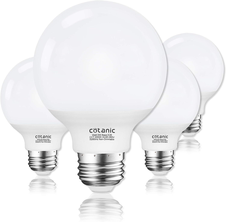 G25 Led Globe Light Bulbs Cotanic 5w Vanity Light Bulb 60w Equivalent Daylight 4000k Non Dimmable Makeup Mirror Lights For Bedroom Led Bathroom Light Bulbs E26 Medium Screw Base 500lm Pack Of 4 Amazon Com