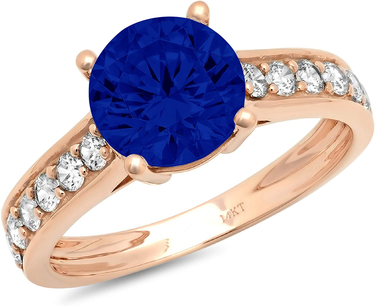 2.19ct Brilliant Round Cut Solitaire with accent Flawless Ideal Genuine Cubic Zirconia Blue Sapphire Engagement Promise Statement Anniversary Bridal Wedding Accent Designer Ring 14k Rose Gold