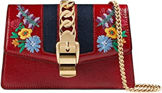 Super Mini Sylvie Embroidered Chain Wallet Hook Red Flower Bag New