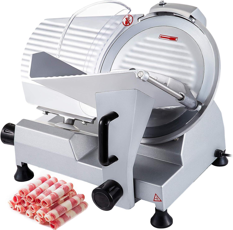 VEVOR Commercial Meat Slicer, 10 inch Electric Food Slicer, 240W Frozen Meat Deli Slicer, Semi-Auto Meat Slicer For Commercial and Home use