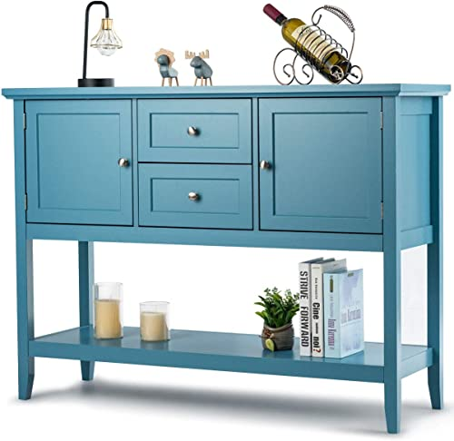 high quality Giantex Buffet Sideboard, Wood Storage Cabinet, new arrival Console Table 2021 with Storage Shelf, 2 Drawers and Cabinets, Living Room Kitchen Dining Room Furniture, Wood Buffet Server (Aqua) outlet sale