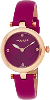 Akribos XXIV Women's Diamond Accented Heart Engraved Dial Magenta Leather Strap Watch - Packed in a Beautiful Gift Box - A...