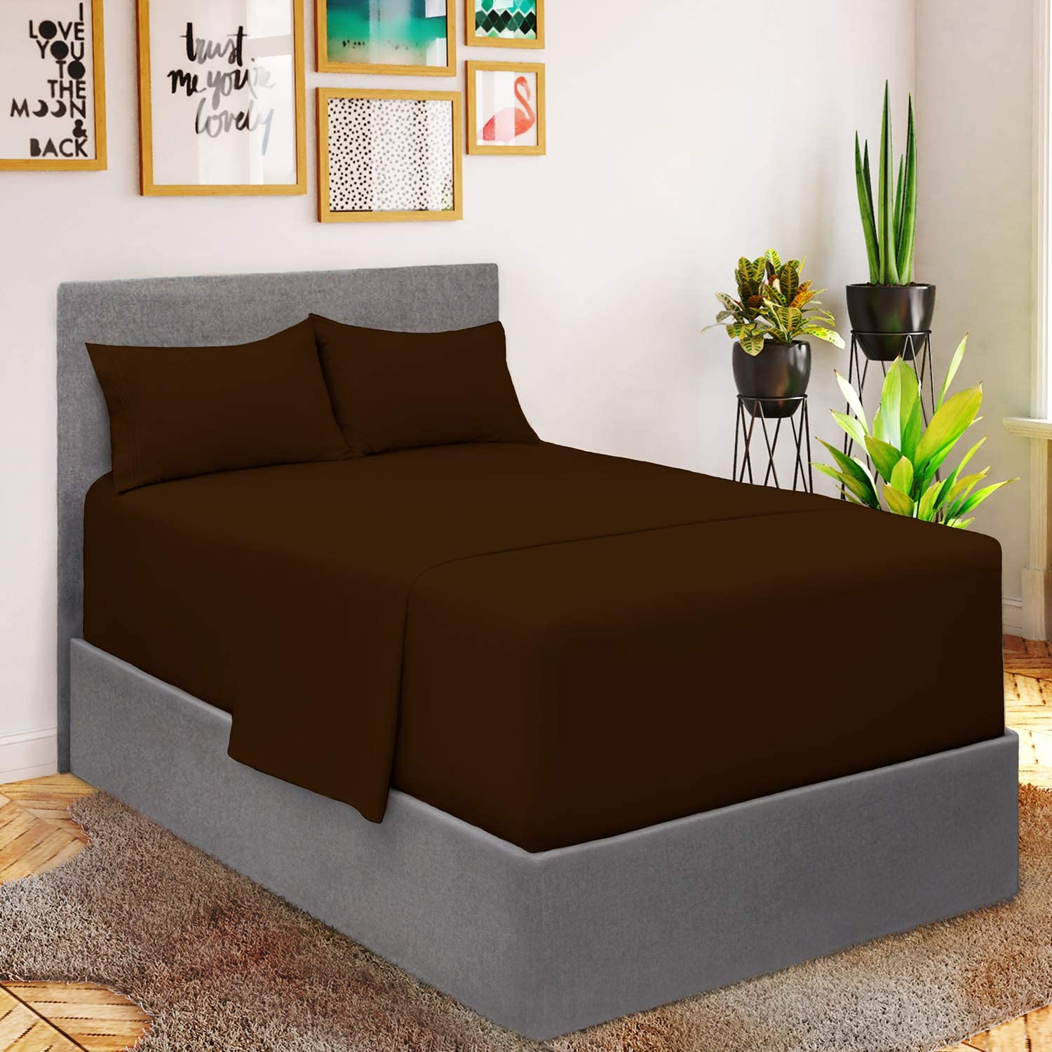 Mellanni Extra Deep Pocket Twin Sheet Set - Twin Bedding for Boys - Hotel Luxury 1800 Bedding Sheets & Pillowcases - Ultra Soft Cooling Bed Sheet Set - 3 Piece (Twin, Brown)