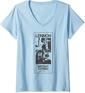 Femme John Lennon - Karma Signature T-Shirt avec Col en V
