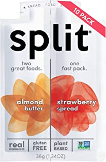 Split Nutrition Almond Butter and Strawberry Squeeze Packs, Gluten-free, Pantry Snack, Non-GMO, Real Food, Made with Zero Artificial Preservatives or Sweeteners, Pack of 10 (1.34 ounce each)