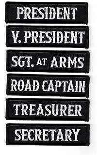 Miltacusa Officer Title Rank Vest Patches President VP MC Biker Club Patch Set (6pc-Iron On-WHT-BLK)