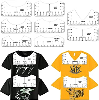 DELFINO 8 Pack White T-Shirt Ruler Guide Set for Heat Transfer Vinyl Tshirt Alignment Center Designs, Round and V-Neck, Fr...