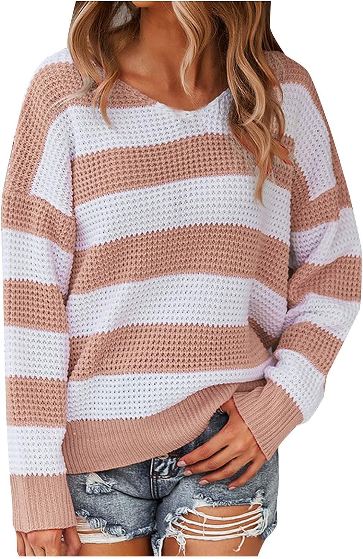 Hemlock Women Stripe Print Sweaters Long Sleeve Knit Pullover Tops Long Sleeve Jumper Autumn Outwear