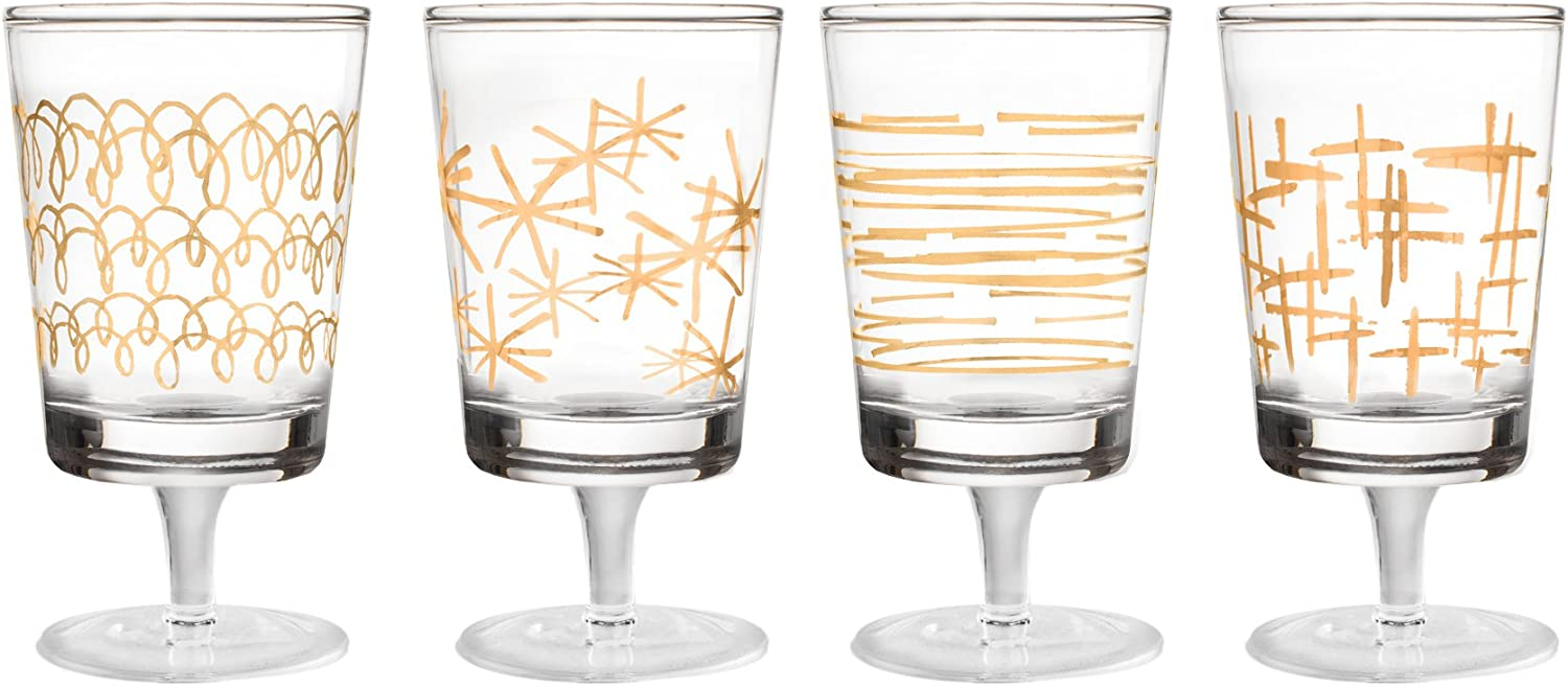 Fifth Avenue Crystal 229298-4GWN Soiree Set of 4 Lead Free Wine Glasses, 3 x 3 x 8 , gold
