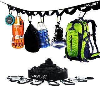LAMURO Sangle de Suspension et Rangement pour Camping avec 19 Boucles d'Accrochage   8 mousquetons et 4 Crochets fournis  ...