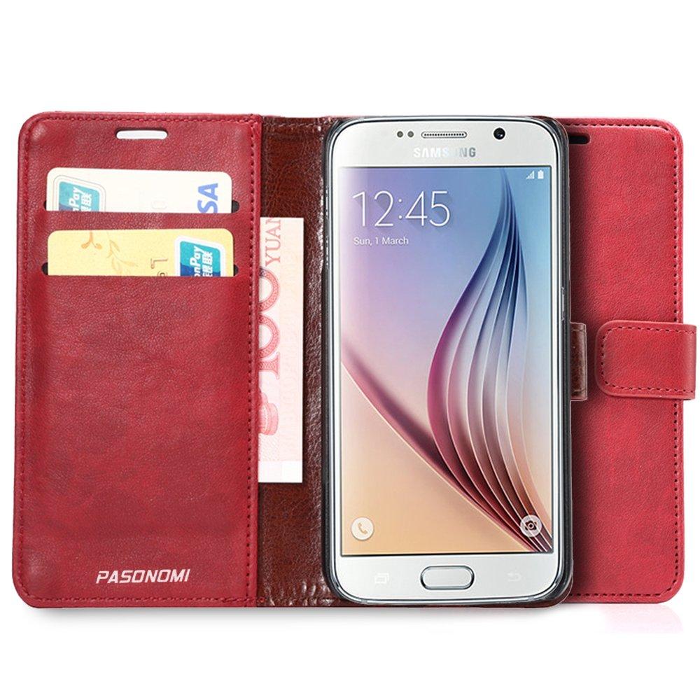 Pasonomi® Funda Cartera Samsung Galaxy S6 Edge de Cuero Ultra Fino con Tapa con Ranuras para Tarjetas para Samsung Galaxy S6 Edge (Rojo): Amazon.es: Electrónica