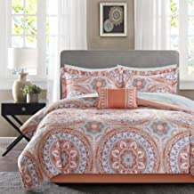 9 Piece Coral Medallion Comforter King Set, All Over Beautiful Bohemian Floral Pattern, Pretty Solid Color Reversible Bedding,Indie Inspired Hippy Spirit, Damask Flowers,Geometric Accents, Orange Aqua