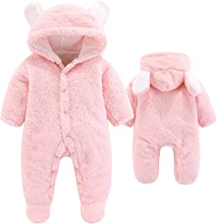Newborn Baby Cartoon Bear Snowsuit Warm Fleece Hooded...