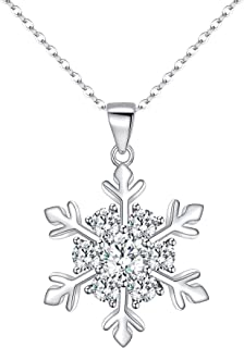Women's 925 Sterling Silver CZ Winter Snowflake Adjustable Pendant Necklace Clear