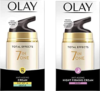 Olay Day Cream Total Effects 7 in 1, Anti-Ageing Gentle Moisturiser, 50g And Olay Night Cream Total Effects 7 in 1, Anti-A...