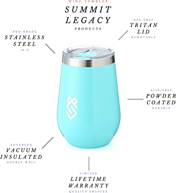 Summit Outdoor Wine Glasses, Vacuum Insulated Wine Tumbler With Lid, Stemless Metal Cup Design, Stainless Steel, Unbreakable,