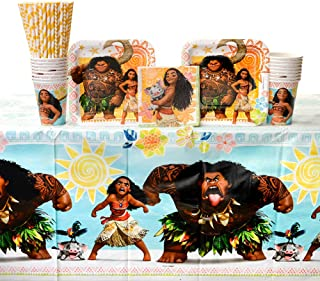 Moana Party Supplies Pack for 16 Guests - Straws, Dessert Plates, Beverage Napkins, Cups, and Table Cover