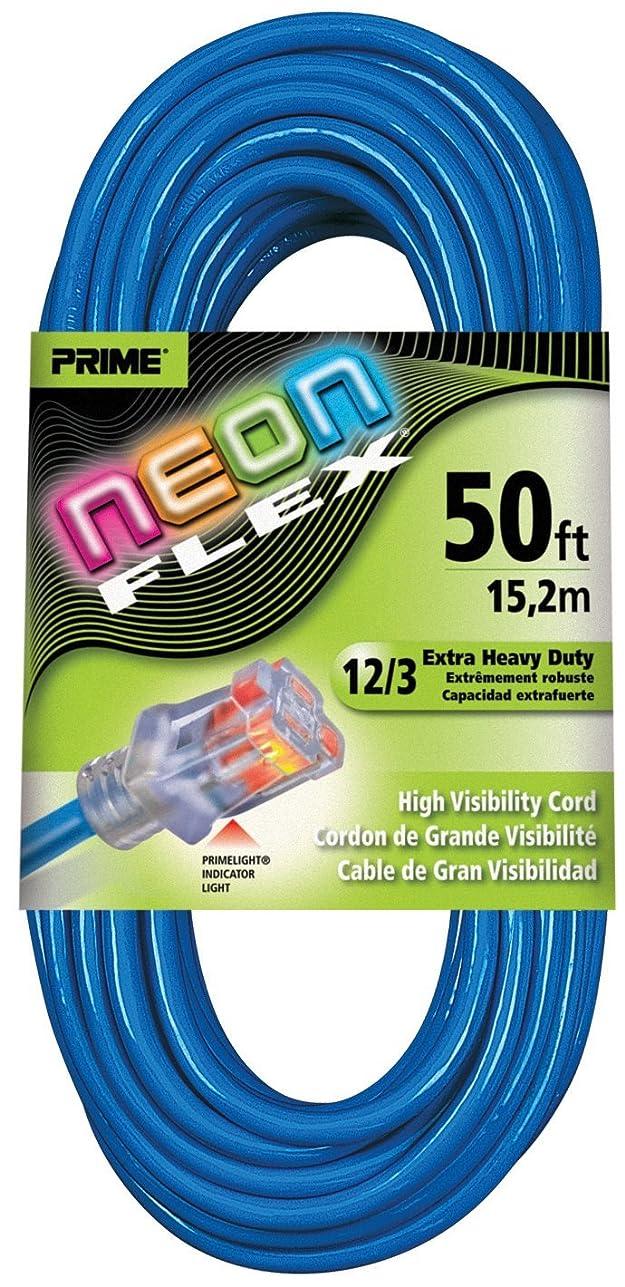 レルム敬礼合図Prime Wire & Cable NS514830 50-Foot 12/3 SJTW Flex High Visibility Extra Heavy Duty Outdoor Extension Cord with Prime light Indicator Light, Neon Blue [並行輸入品]