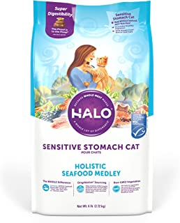 Halo Natural Dry Cat Food - Sensitive Stomach Recipe - Premium and Holistic Seafood Medley - 6 Pound Bag - Sustainably Sou...