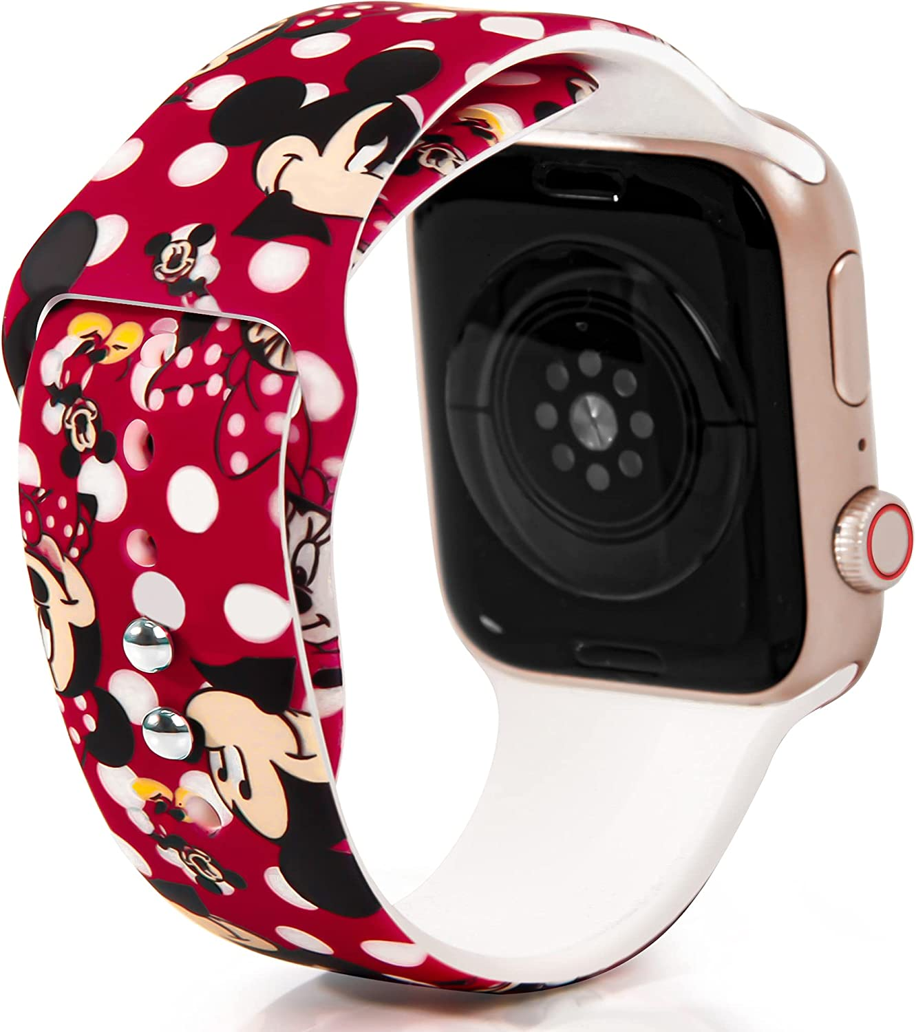 Cartoon Minnie Mouse for Apple Watch Band 44mm 42mm 40mm 38mm, Soft Silicone Replacement Strap Wristbands for iWatch Series SE 6 5 4 3 2 1 for Women Girls