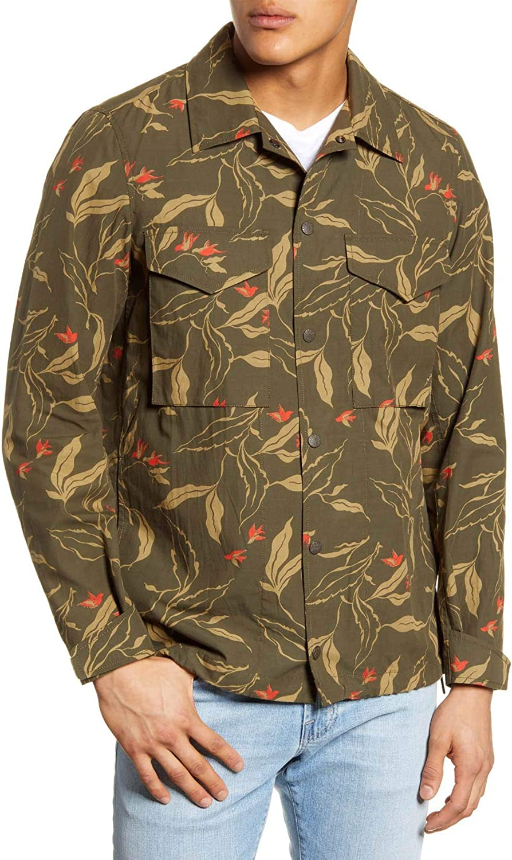 Rag & Bone Mens Army Floral Flight Shirt Jacket Large Green