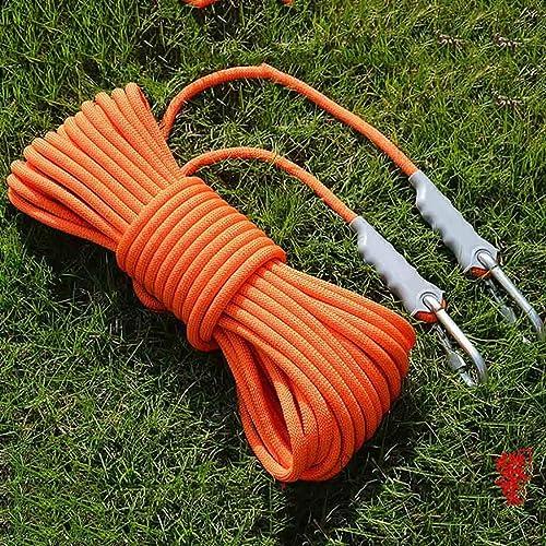 Équipement d'escalade Corde auxiliaire de sécurité extérieure antidérapante de 8 mm de diamètre, corde auxiliaire de sauvetage en polypropylène Orange for alpinisme, force de traction de 800 kg, corde