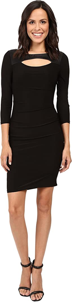3/4 Sleeve Fitted Dress w/ Cut Outs