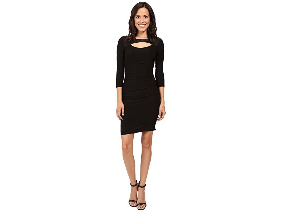 Laundry by Shelli Segal 3/4 Sleeve Fitted Dress w/ Cut Outs (Black) Women