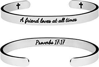 Joycuff Friendship Jewelry Gift for Best Friend Silver Cuff Bracelet Jewellery Proverb Engraved A Friend Loves at All Time