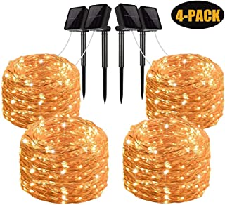 Solar String Lights, 4 Pack 100 LED Solar Fairy Lights 33 Feet 8 Modes Copper Wire Lights Waterproof Outdoor String Lights for Garden Patio Gate Yard Party Wedding Indoor Bedroom Warm White