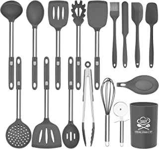 Silicone Kitchen Utensil Set, Taiker 17PCS Kitchen Cooking Utensils Set, Non-stick & Heat Resistant Silicone Cookware, BPA Free Non-Toxic Cooking Utensils, Kitchen Tools (Grey)