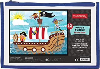 """Mudpuppy Pirates Ahoy! Pouch Puzzle, 12 Extra-Thick Pieces, 14""""x11"""" – Great for Kids Age 2-4 – Perfect for Travel – Helps Develop Hand-Eye Coordination - Packaged in Secure, Reusable Pouch"""