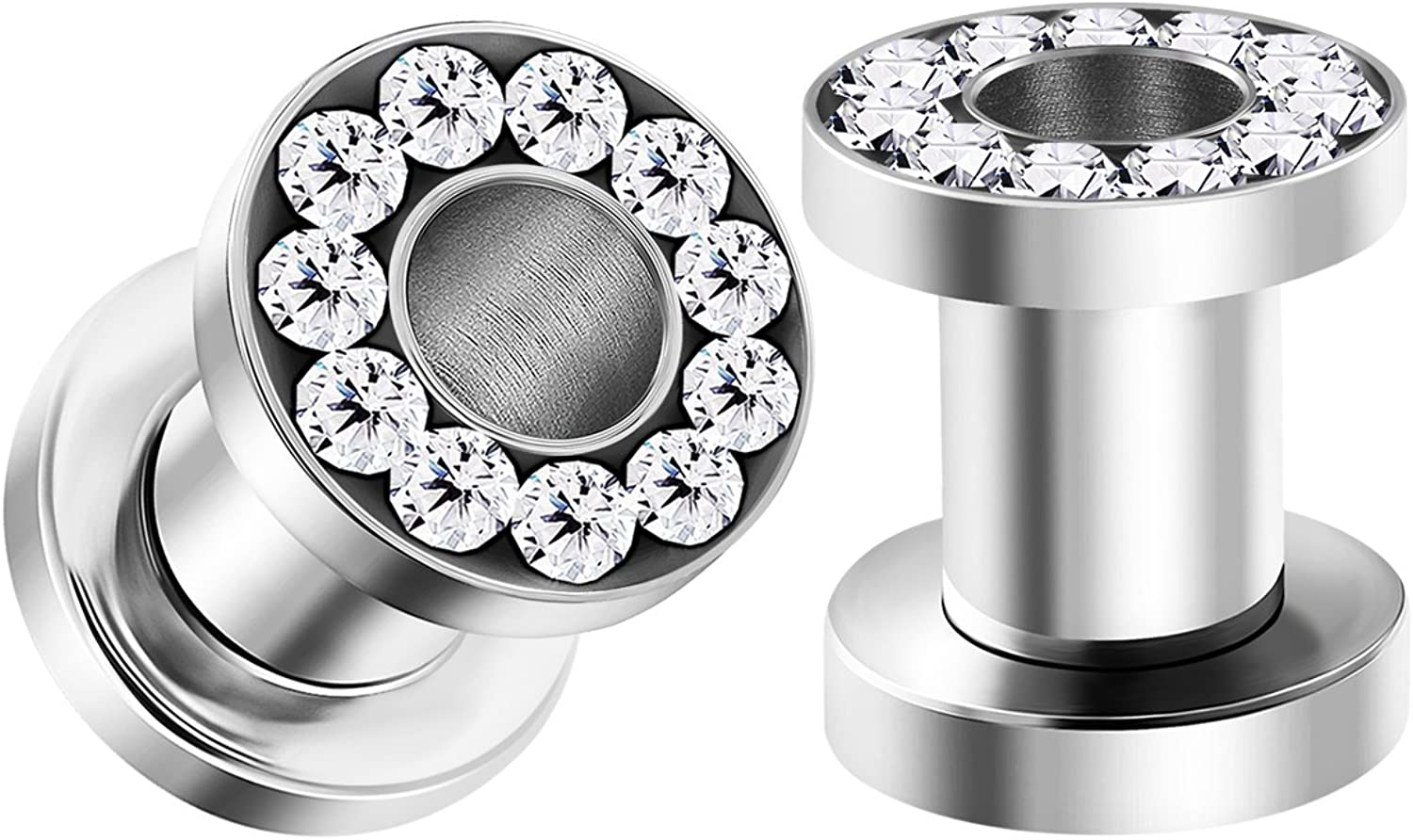 BIG GAUGES Pair of 316L Surgical Steel Polished Screw-fit Clear Crystal Piercing Jewelry Ear Stretching Lobe Plugs Flesh Tunnel Earring
