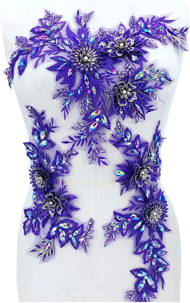 SKREOJF Handsewing Max 74% OFF Beads Rhinestones Purple Lace P Applique Trim Ranking TOP6