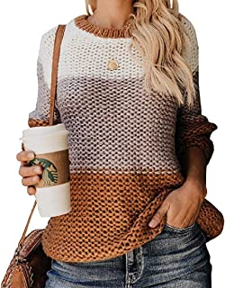 Womens Long Sleeve Knitted Color Block Textured Jumper Casual Sweater