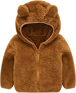 AIWUHE Baby Boys Girls Toddler Hooded Jacket Fleece Hoodie Winter Warm Solid Color Coat Cute Bear Ear Sweater Thick Clothes