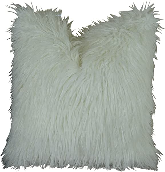 Thomas Collection White Mongolian Double Sided Faux Fur Throw Pillow White Mongolian Fur Pillow Super Soft Curly Long Hair White Fur Pillow Made In USA 17421