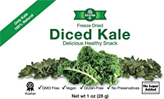 Biotree Naturals Crunchy Delicious Kale - All Natural Freeze Dried Diced Kale Snack: No Added Sugar or Preservatives Paleo Gluten-Free Healthy Snack for Children & Adults Add to Sauces Dips