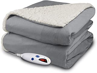 Biddeford 4480-9064114-902 Micro Mink and Sherpa Electric Heated Throw Blanket Grey