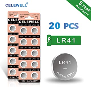 【5-Year Warranty】 CELEWELL LR41 AG3 192 392 Battery LR41 Button Cell Batteries (20 Pack)