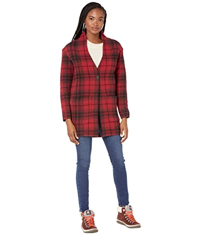 tentree Flannel Cocoon Cardigan (Rio Red Coastal Plaid) Women