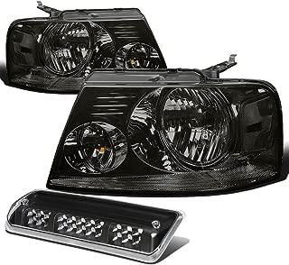 For Ford F150 Pair of Smoke Lens Clear Corner Headlight+Black LED 3rd Brake Light